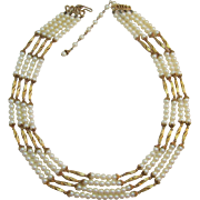 Beautiful Hobe' Four Strand Imitation Pearl and Gold-tone Necklace