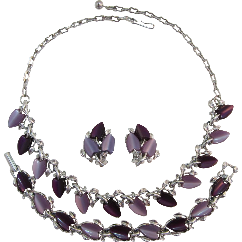 Lavender and Purple Moonglow Necklace, Bracelet and Earring Set