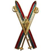 Designer Liz Claiborne Crossed Enameled Skis Brooch