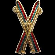 Designer Liz Claiborne Crossed Skis Brooch