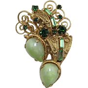 Mint Green Cabochon and Tourmaline Rhinestone Brooch
