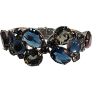 Sapphire Blue, Grey and Purple Rhinestone Hinged Bracelet