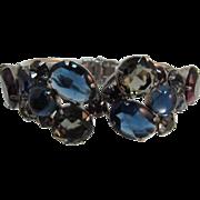 Sapphire Blue, Grey and Purple Rhinestone Hinged Bracelet