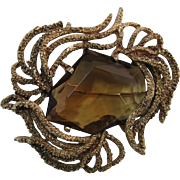 Dramatic Huge Asymmetrical Faceted Glass Stone Brooch