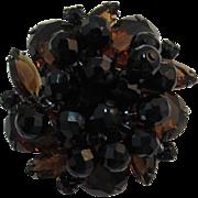 DeLizza and Elster Juliana Large Smoky Topaz Pear Rhinestone & Black Beaded Brooch