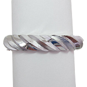 Trifari Silver-tone Twisted Rope Hinged Bracelet