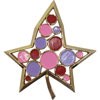 Fun Trifari MOD Brooch with Hot Pink and Orchid Purple Enameling