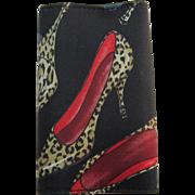 Vintage Nicole Miller Leopard Skin Design Fabric Key and Credit Card Holder