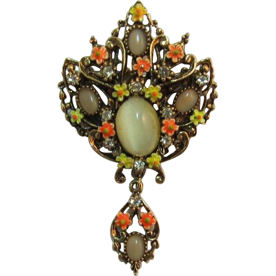 Signed ART Yellow and Orange Enameled Floral Brooch