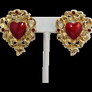 """Signed Avon """"Festive Heart"""" Red Enamel Earrings - Pierced - Six Available"""