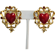 "Avon ""Festive Heart"" Red Enamel Earrings - Pierced"