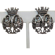 Signed Coro Heraldic Motif Earrings - Crown