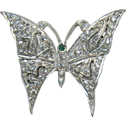 Beautiful Art Deco Rhinestone Butterfly Brooch
