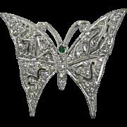 Beautiful Art Deco Rhinestone Butterfly Brooch