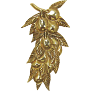 Long Gold-Plated Fruits and Leaves Fur Clip