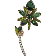 D&E / Juliana Tourmaline and Olivine Rhinestone Flower Brooch