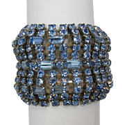 Fabulous Wide Light Blue Rhinestone Bracelet