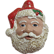Large Hand Crafted Glittery Jolly Santa Face Pin