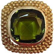 Accessocraft Huge Olivine Unfoiled Rhinestone Brooch