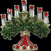 Hollycraft Rhinestone Menorah Judaica Brooch