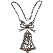 Fabulous Beatrix Huge Christmas Bell and Bow Necklace