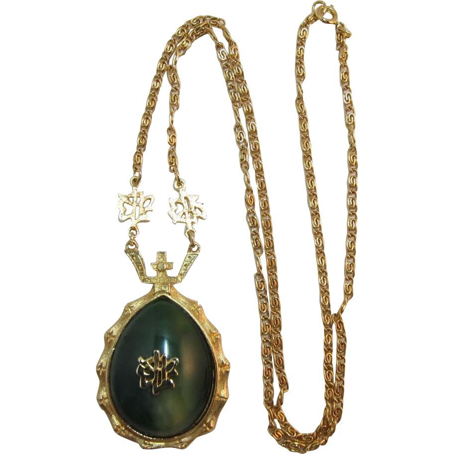 Asian Inspired Imitation Jade Symbol Necklace with Gold-tone Bamboo Frame