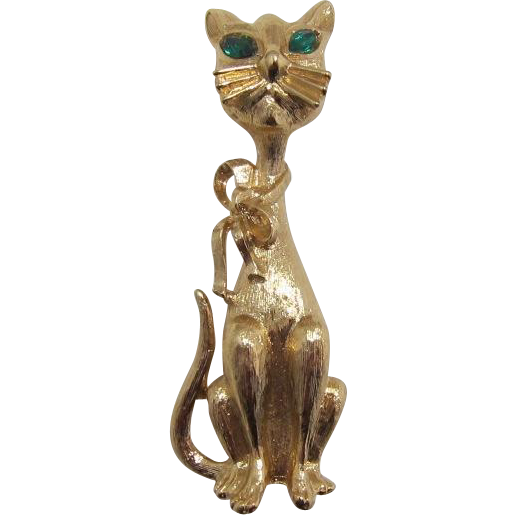 Monet Tall Elegant Cat Pin with Green Navette Eyes