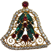 Beautiful Red, Green and Clear Rhinestone Christmas Bell Brooch