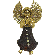 Beautiful Large Praying Angel Christmas Brooch