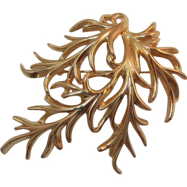 Napier Gold-plated Domed Leafy Brooch