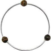 Sterling Silver 925 Bracelet with Tiger Eye Beads