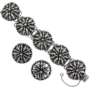 Napier Silver-plated Flower Bracelet and Earring Set - Book Piece