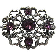 Napier Nouveau Style Silver-plated Brooch with Deep Purple Rhinestones