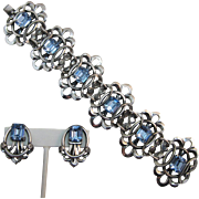 Elaborate Napier Silver-plated Bracelet and Earrings with Blue Rhinestones