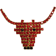 Glitzy Red-Orange Rhinestone Figural Bull Pin