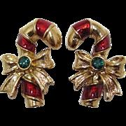 Avon Christmas Candy Cane Pierced Earrings - Book Piece