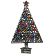 Sparkling Silver-tone Christmas Tree Pin with Multi-Colored Rhinestones