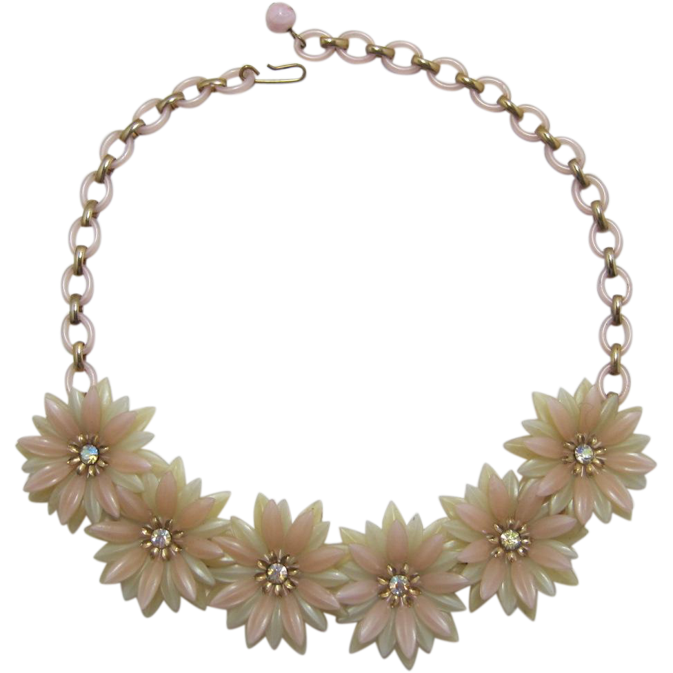 Pale Pink and Pale Chartreuse Soft Flower Petal Necklace