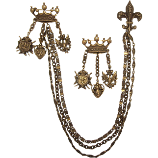 Antique Gold-tone Heraldic Chatelaine with Fleur di Lis and Two Crowns
