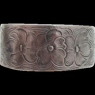 Salisbury Pewter Heavy July Flower of the Month Cuff Bracelet