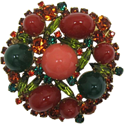 D&E Juliana 1960's Imitation Jade, Coral and Carnelian Cabochon Brooch