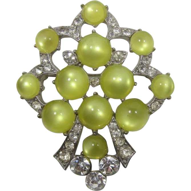 1930's Brooch with Neon Yellow Moonglow Cabochons