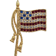 Signed Rafaelian Patriotic Rhinestone Flag Pin