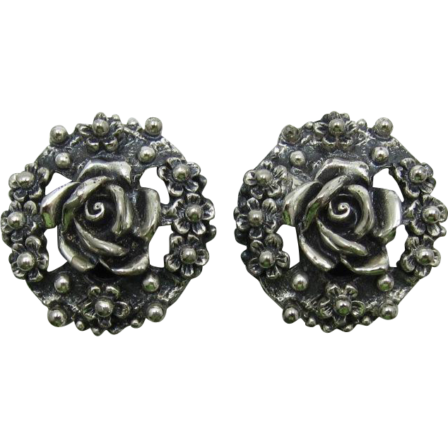 Tortolani Silver-Plated Rose Flower Earrings - Book Piece