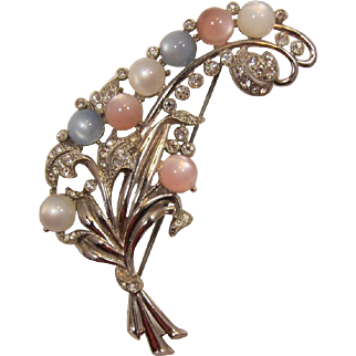 Elegant Pink, Blue and White Moonglow Cabochon Spray Brooch