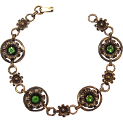 Delicate Gold-Filled Bracelet with Green Rhinestones