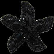 Weiss Black Rhinestone Starfish Brooch