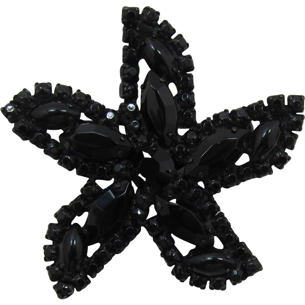 Weiss Black Rhinestone Starfish Brooch