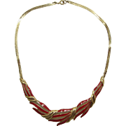 Striking Trifari Red Enameled Leafy Necklace