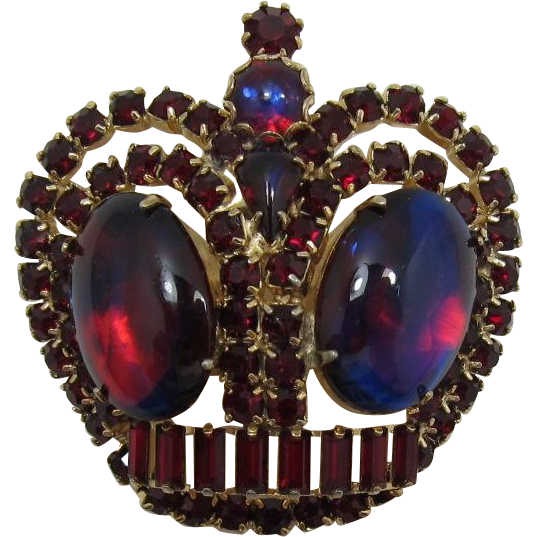 Red Rhinestone Crown Brooch with Shimmery Blue-Red Cabochons